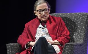 U.S. Supreme Court Justice Ruth Bader Ginsburg speaks at Amherst College in Amherst, Mass., on October 3, 2019. (AP Photo/Jessica Hill)